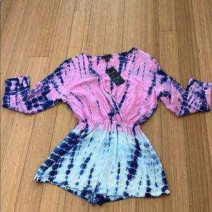 NWT pink tie dye romper